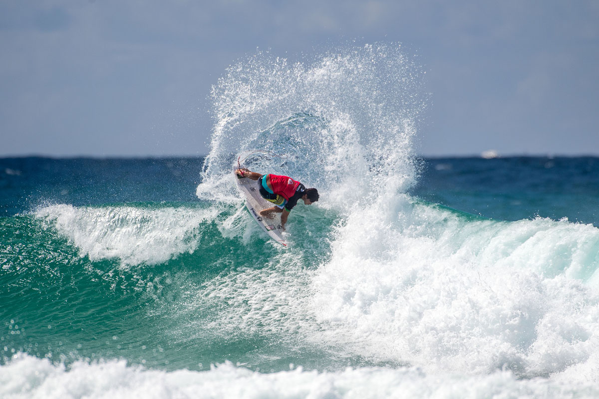 Gabriel Medina backside fin throw at Snapper Rocks. Photo courtesy of FCS.