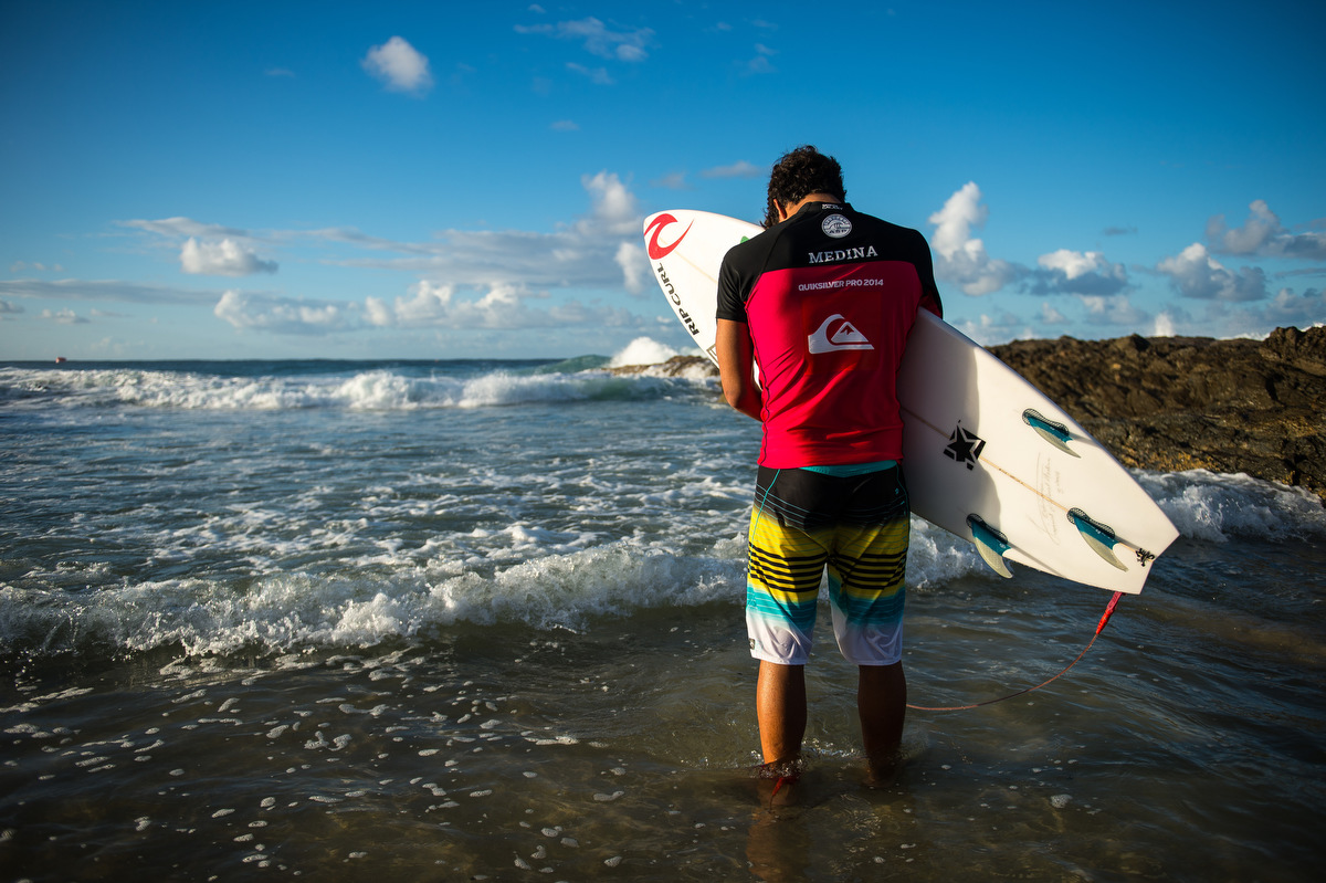 Gabriel Medina performs during the ASP World Tour, Quiksilver Pro Gold Coast 2014. Photo courtesy of FCS.