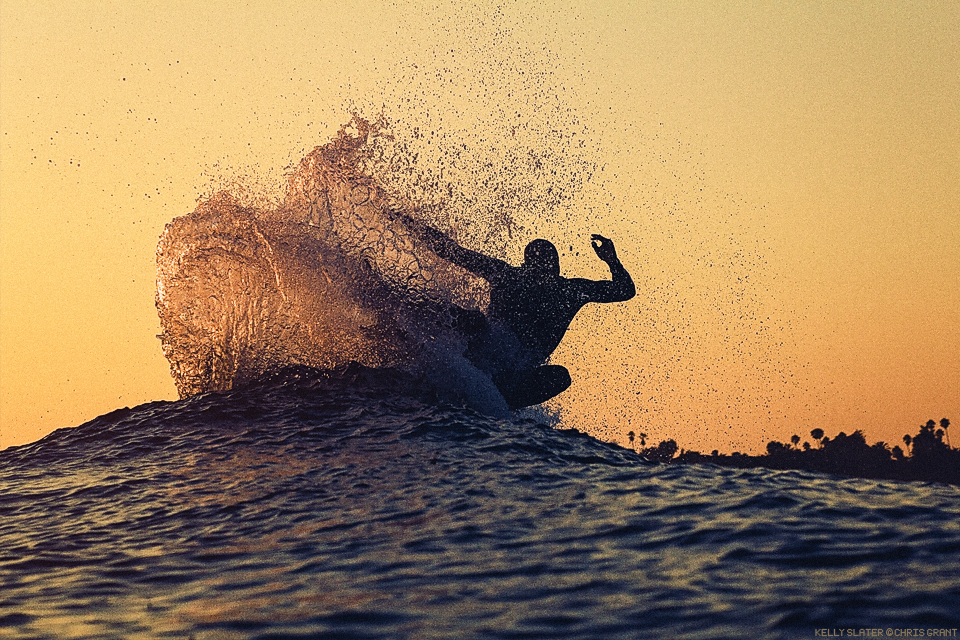 Kelly Slater, late afternoon fin throw at Lowers. Chris Grant photo on Boardfolio.com