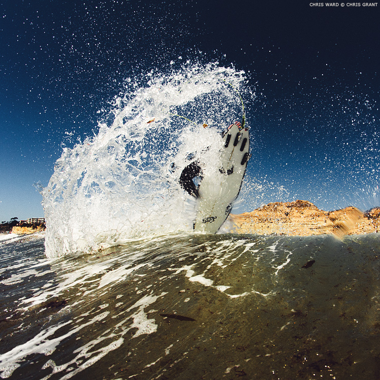 Chris Ward throwing fins at home in San Clemente. Chris Grant photo on Boardfolio.